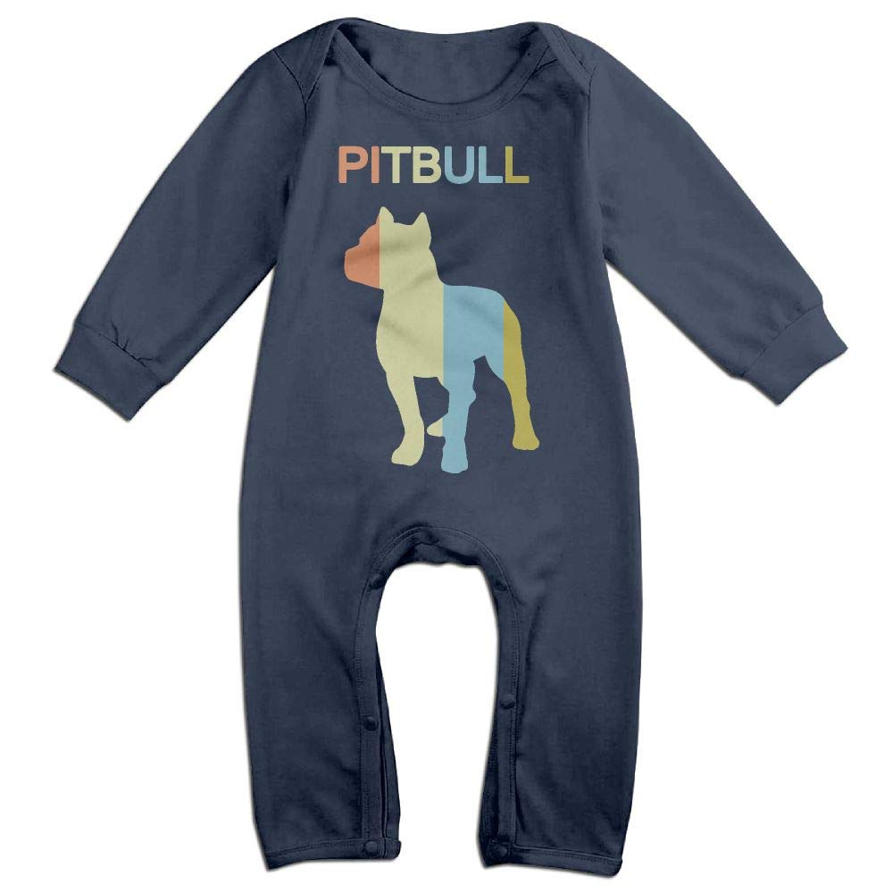 Mri-le1 Newborn Kids Long Sleeve Jumpsuit Pitbull Vintage Kid Pajamas