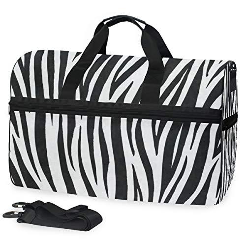 Gym Bag Strpe Zebra Skin Duffle Bag Large Sport Weekender Bag for Men Women