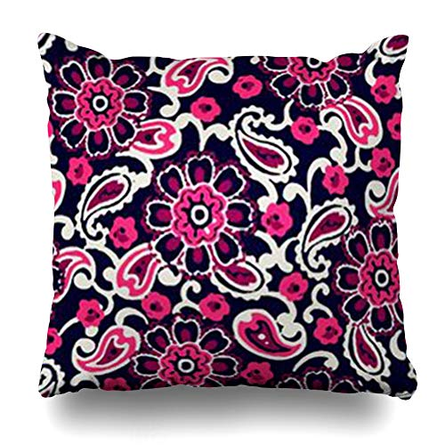 GisRuRu Throw Pillow Covers Flower Batik Fantasy Flowers Natural Floral Curl Paisley Block Abstract Pattern Bohemian Ethnic Cozy Home Decor Sofa Pillowcase Square Size 18 x 18 Inches Cushion Cases -
