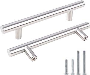 "Kasten 12 Pack Brushed Nickel Cabinet Pulls 3-3/4"" Hole Center, KS201BN T Bar Stainless Steel Kitchen Cabinet Hardware Dresser Drawer Pulls"