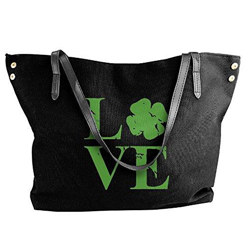 Ireland Large Tote Bags Women's Handbag Love Shoulder Black Canvas Capacity Large xWwRfY