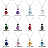 Sterling-Silver-Simulated-Birthstone-CZ-Fancy-Cat-Pendant-Charm-Necklace-Adjustable-Chain