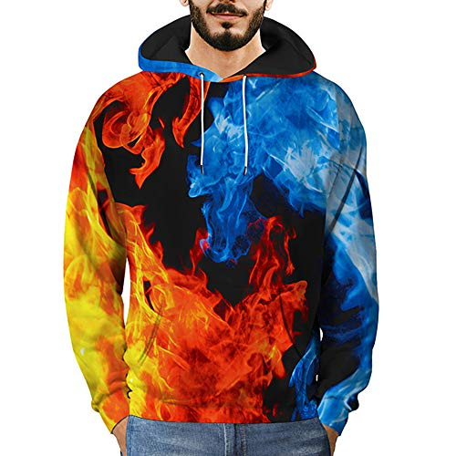 (WOCACHI Mens Hoodies 3D Ice Fire Pullover Hooded Casual Cool Trendy)