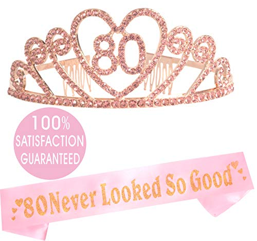 80th Birthday Tiara and Sash| HAPPY 80th Birthday Party Supplies| 80 Never Looked So Good Pink Glitter Satin Sash and Crystal Tiara Birthday Crown for 80th Birthday Party Supplies and Decorations