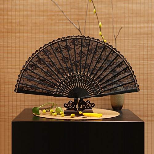 5Pcs 5Pcs Black Vintage Battenburg Lace Fans Bamboo Pocket Fan Elegant Home Decor Party Favor Dance Fans - by GTIN - 1 Pcs
