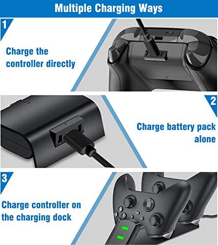 Rechargeable Battery Pack with Controller Charger for Xbox One& Series Controller Charger Kit, Controller Charger Station for Xbox One/One S/One X/One Elite/Series X|S, 2X 1200mAh Xbox Battery Pack 517vZx0qZ8L