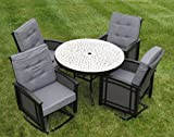 5pc Outdoor Patio Round Concrete Swivel Rocking Cushion Patio Dining Set – Mosaic Review