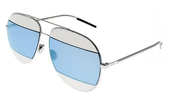 125e24cc942 Image Unavailable. Image not available for. Color  Christian Dior SPLIT 1  (010 3J) palladium silver blue mirror Sunglasses