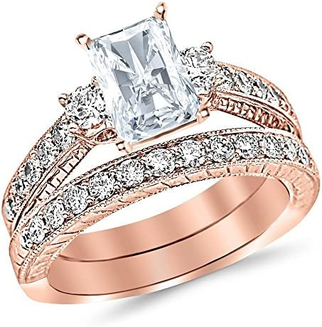 3 Ctw 14K White Gold Three Stone Vintage With Milgrain & Filigree Bridal Set with Wedding Band & GIA Certified Radiant Cut Diamond Engagement Ring (2 Ct Center H-I Color VS1-VS2 Clarity)