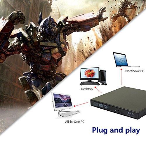tengertang USB External blu-Ray Drive, Portable DVD Burner,BD-ROM,DVD/CD-RW/ROM Writer,Support xp/Win/ Linux System Related Desktop, Notebook, etc.(Black) by tengertang (Image #3)