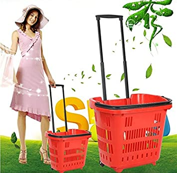 Cesta de la compra supermercado carrito coches mano cesta compra cestas de plástico cesta de alimentos carrito de la compra dos rondas de cesta: Amazon.es: ...