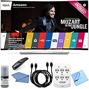 LG 55EG9600 - 55-Inch 2160p 4K Smart Curved Ultra HD 3D OLED TV Hook-Up Bundle includes 55EG9600 - 55-Inch 2160p 4K Smart Curved Ultra HD 3D OLED TV, Screen Cleaning Kit, HDMI to HDMI Cable 6' x 2, 6 Outlet Wall Tap w/ 2 USB Ports and Microfiber Cloth