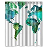 Yestore Superior Custom Vintage World Map WaterProof Polyester Fabric 60' x 72' Shower Curtain