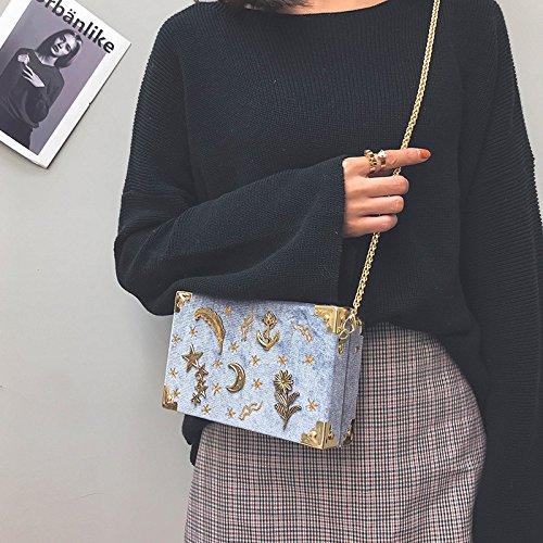 Broderie Mini Mode Embrayage Velvet 19 D'épaule Gris Or Soirée En Croix 2018 12 Main Sac Cartable Sac Femmes Petite Chaîne À 5cm Corps PSPzqd