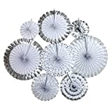 Ipalmay Decorative Fan, Hanging Paper Fans, Party Decorations Kit Silver, Set of 8