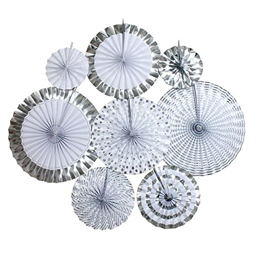 Ipalmay Decorative Fan, Hanging Paper Fans, Party Decorations Kit Silver, Set of 8 ()