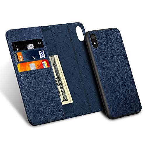 (AZOFO iPhone XR Wallet Case, iPhone XR Case, [2 in 1] Detachable Magnetic Case, [Cowhide Leather] Slim Flip Folio Cover, Card Holder Slots, Kickstand, [Gift Box Package] Compatible iPhone XR, Blue)
