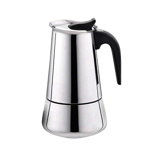 Cafetera Italiana Cafetera espressos en Acero inoxidable430 Conveniente para Cocina de inducción Cafetera Moka Clásica Plata Uso Doméstico y ...
