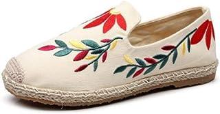 YOPAIYA Espadrilles Plat Loafers Espadrille pour Femmes Beige Saule Motif Broder Chaussures Confortable Pantoufles Dames Femmes Casual Chaussures Respirant Lin Chanvre Toile
