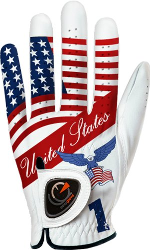 Custom Golf Gloves - easyglove Flag_USA-1 Men's Golf Glove (White), XX-Large, Worn on Left Hand