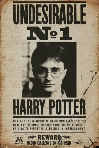 Click for larger image of Harry Potter - Movie Poster (Wanted: Undesirable No. 1 - Harry Potter) (Size: 24' x 36') (By POSTER STOP ONLINE)