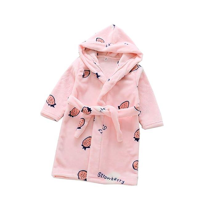 Kids Bathrobe Girls robe Boys Dressing Gown Pyjama Fleece Cute print Sleepwear Soft Loungewear Nightwear Hooded