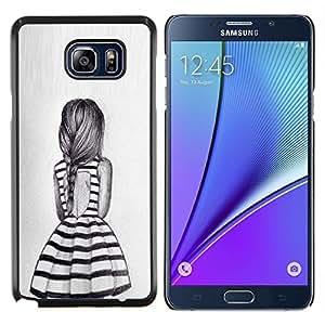 TECHCASE---Cubierta de la caja de protección para la piel dura ** Samsung Galaxy Note 5 ** --chica coleta diseño de moda vestido de verano