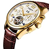 BINSSAW Men's Automatic Tourbillon Mechanical Watch Gold Leather Fashion Luxury Brand Business Watches