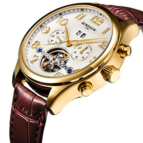 BINSSAW Men Automatic Mechanical Tourbillon Watch Brand Leather Gold Fashion Casual Stainless Steel Sports Wrist Watches for Male ()