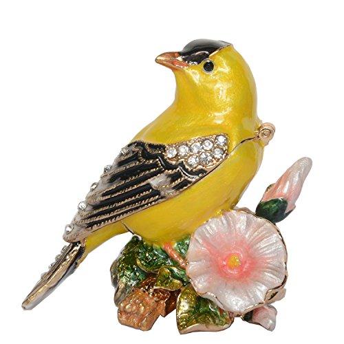 Jiaheyou Canary Bird Trinket Jewelry Box Bird Figurine Hand Painted Enameled Metal -