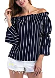 CHIC DIARY Women Off Shoulder Stripe Chiffon Top Ruffle Sleeve Blouse S