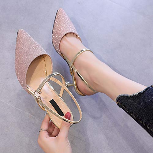 Baotou Word Sandals High KPHY Shoes A Little With Sequins Buttons Little Fresh Golden Four Princess Fashion Heel 6Cm Thirty Shoes nPwSY8rqP