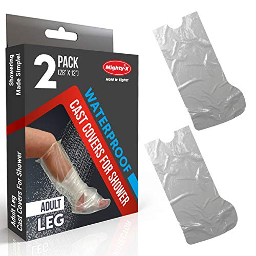 Adult Leg Cast Covers for Shower - 2 Pack - Waterproof Cast Cover - Reusable Cast Protector for Shower