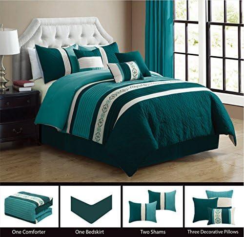 7 Piece Comforter Coverlet Set Bed Skirt Bedspread Modern Aqua White Queen//King