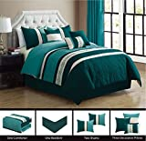 King Size Comforter Sets with Matching Curtains Modern 7 Piece KING Bedding TEAL BLUE, WHITE