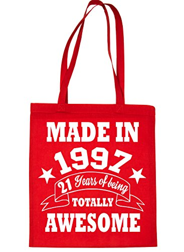 Print4u Shopping Tote Bag For Life Born In 1997 21st Birthday Red