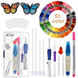 #5: Magic Embroidery Pen, HUAYF Embroidery Stitching Punch Needles Craft Tool Set Including 50 Color Threads for DIY Sewing Cross Stitching