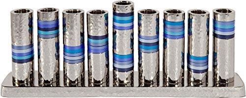 (Yair Emanuel Hammered Hannukah Menorah Aluminium Nickel Hammerwork Blue Rings (HMV-1) Judaica)