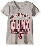 NCAA Oklahoma Sooners Children Girls V-Neck Short sleeve Tee,14,Heather