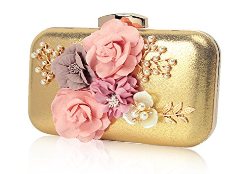 Evening Shoulder Handmade Small Clutch Vintage Gold Wristlet Beaded Fashion Bag Bags Cross Women's LLXY Body qvWnSwnX