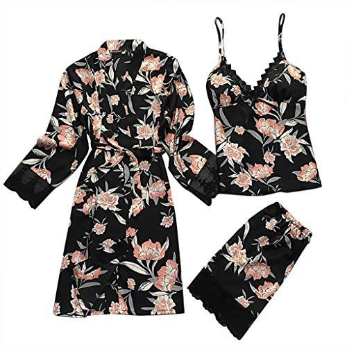 Women Nightdress Robe Panties Sets Sexy Satin Lace Sleepwear Pajamas 3 Pieces ()