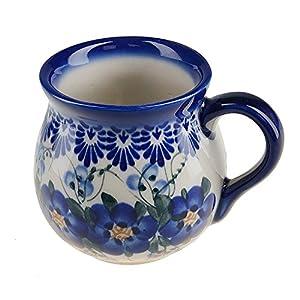 BCV Classic Boleslawiec, Polish Pottery Hand Painted Ceramic Mug Barrel (250, U-003)