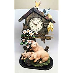 FARM TREE HOUSE PIGS PIGGY TABLE CLOCK SCULPTURE STATUE FIGURINE