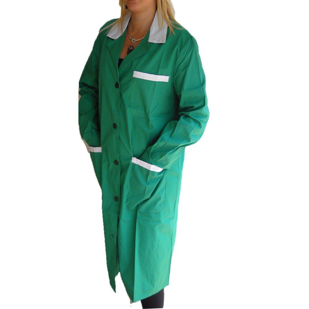 Fratelldiitalia Camice Donna Verde Grembiule Asilo maestra operaia Pulizie Impresa supermercato Misto Cotone Made in Italy dalla 48 alla 54