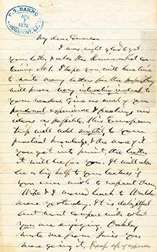 P.T. Barnum Autograph Letter Signed 04/07/1876