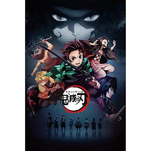 HomMall Demon Slayer: Kimetsu no Yaiba Anime Character Poster Hanging Paintings Wall Art Fabric Poster