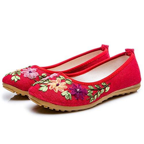 Zernnis Women Handmade Ethnic Embroidered Cotton Hemp Cloth-Shoes Flat Heel UK Size 3.5-6