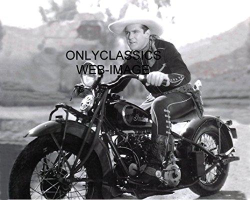 OnlyClassics Cowboy Rides Vintage Indian V-Twin Motorcycle 8X10 Photo Western Gun Americana