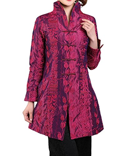 Bitablue Chinese Jacket with Leafy Embroidery Pattern (X-Large, Purplish red)