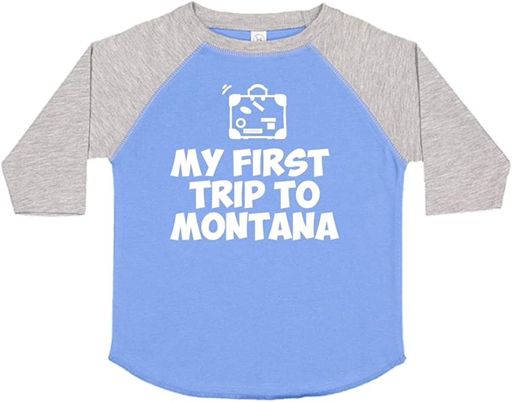 Mashed Clothing My First Trip to Montana Toddler//Kids Raglan T-Shirt